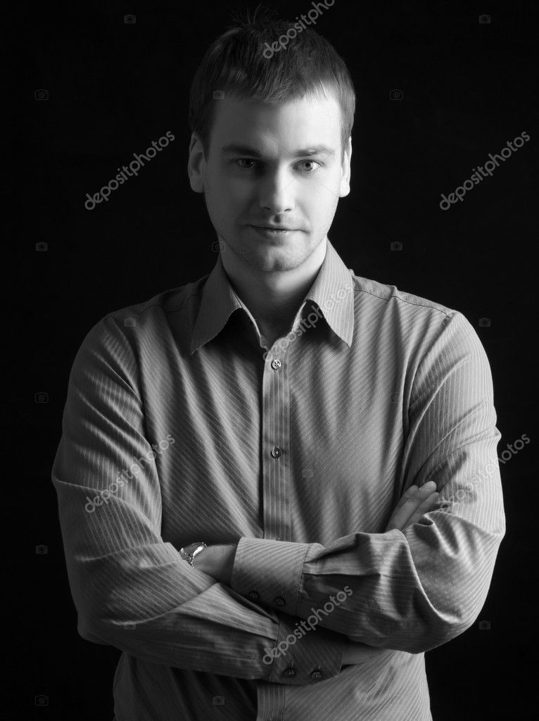 Handsome fashion model man on black background — Stock Photo #5329901