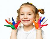 Ellerinde boya — Stok fotoğraf