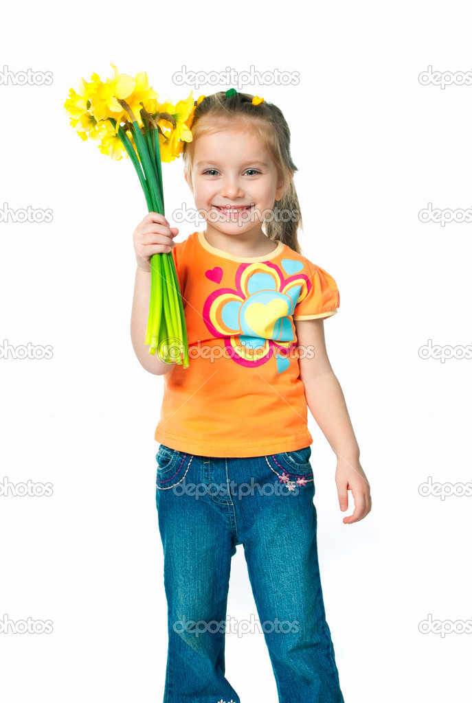 Beautiful little girl with a bouquet of daffodils — Stock Photo #5357981