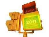 2011 positive 3d semaphore — Stock Photo