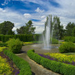 Garden with fountain - Stock Photo