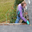 Man cleaning gutters - Stock Photo