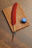 Journal with Feather Pen and Ink — Stock Photo