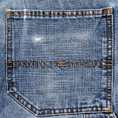 Back pocket of blue jeans — Stock Photo