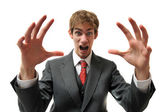 Frustrated businessman in suit screaming — Stock Photo