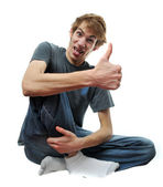 Crazy wacky man with thumbs up — Stock Photo
