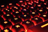 красная подсветка клавиатуры — Стоковое фото