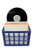 Vinyl LP Record Collection in Crate — Stock Photo