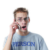 Young adult talks on cell phone — Stock Photo