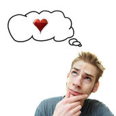 Young Man Thinks Love — Stock Photo