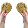 Hands holding plastic wrapped cookies — Stock Photo
