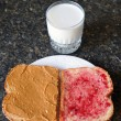 Peanut Butter Jelly Sandwich with Milk — ストック写真