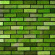 Green bricks wall background texture — Stock Photo