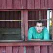 Farmer man looking out old barn window — Stockfoto