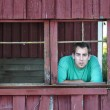 Farmer man looking out old barn window — Stok fotoğraf
