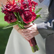 Bride and Groom holding Rose Flowers — Stock Photo