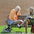 Teenage girls sitting in front of school - Stock Photo