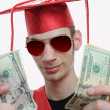 Graduate Showing Off Money — Stock Photo