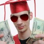 Graduate Showing Off Money — Stock Photo