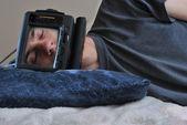Sleeping TV Man — Stockfoto