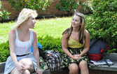 Teenage girls talking outside of school — Stock Photo