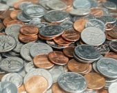Pile of Coins and Change — Stock Photo