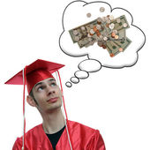 Graduate Thinking About Money — Стоковое фото