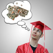 Graduate Thinking About Money — Stock Photo