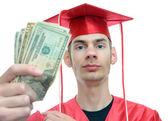 Graduate Holding Money — Stock Photo