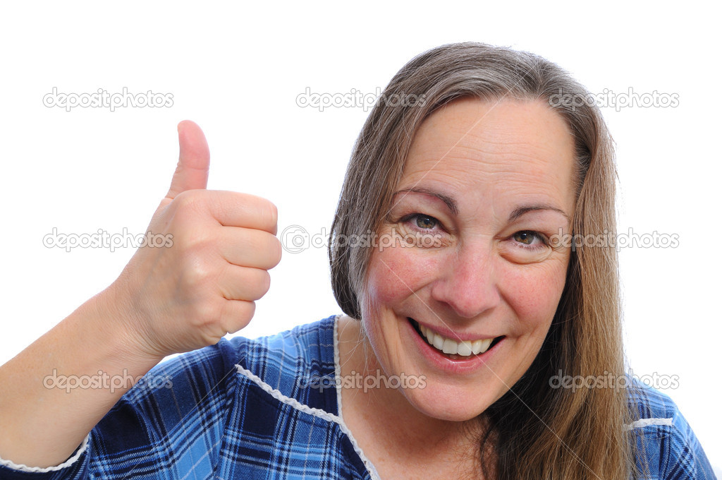 White Caucasian woman isolated over white background with her thumbs up smiling — Stock Photo #4631761