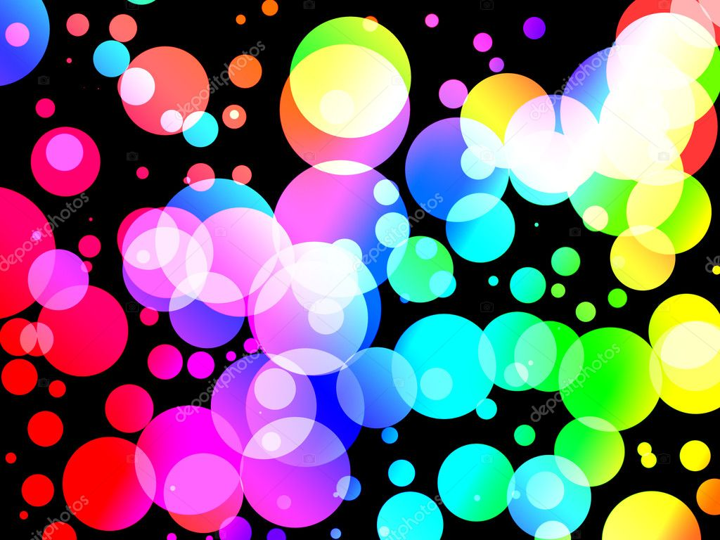 Abstract background of Colorful soda fizz bubble dots on black. Graphical illustration. — Stock Photo #4631957