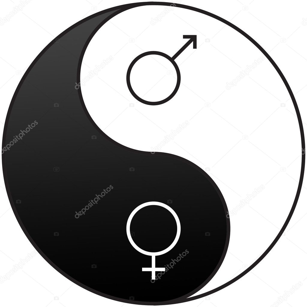 Gender symbols embedded on the Yin and Yang symbol used to demonstrate the opposite qualities of men and women  Stock Photo #4632188