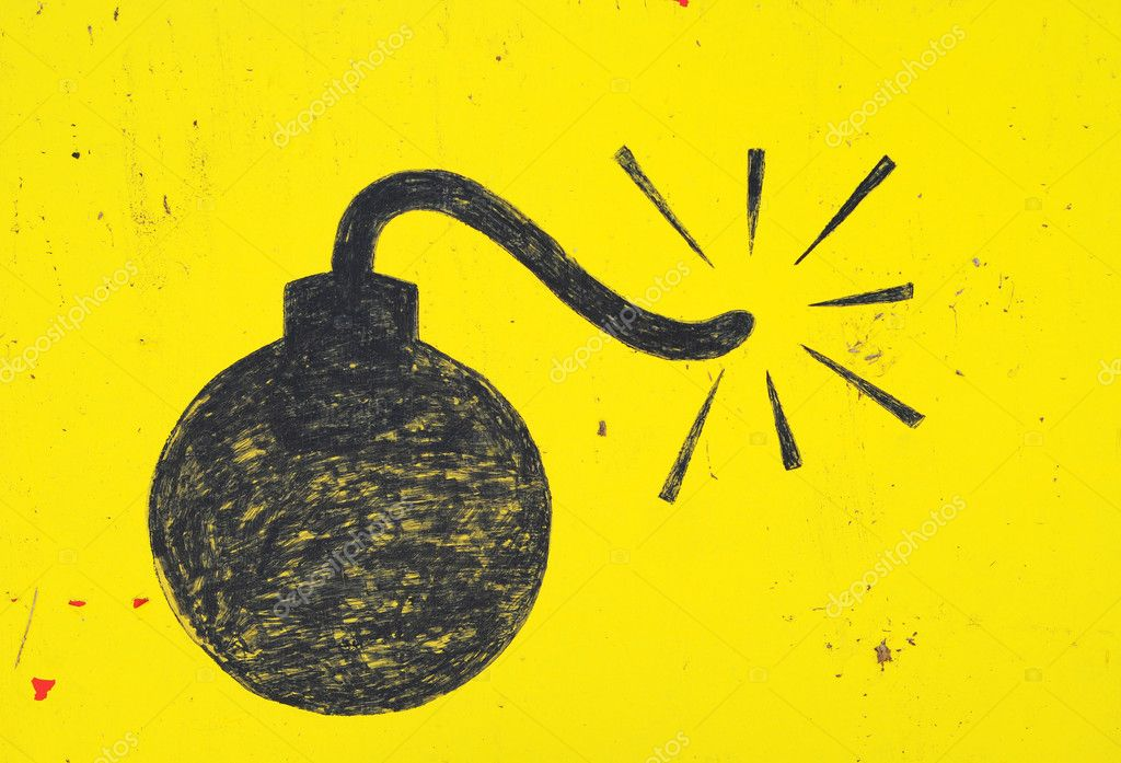 Bomb drawn in with a thick black marker on a yellow background. — Stock Photo #4632358