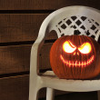 Halloween Pumpkin Lit on Porch — Stock Photo