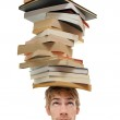 Balancing Stack of Books on Head — Stock Photo #4646029
