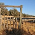 zużyte ogrodzenia pola brama — Zdjęcie stockowe