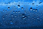 Blauwe condensatie waterdruppels — Stockfoto