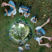 360x180 Stereographic Panorama with Clones — Stock Photo