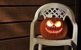 Halloween Pumpkin Lit on Porch — Stock Photo