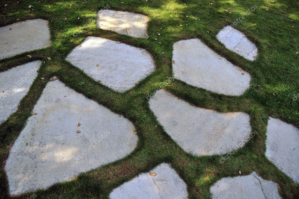 Flat Rock Stone : Garden stone masonry flat rock path — stock photo vlue