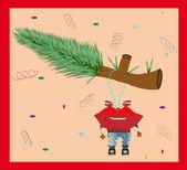 Funny Christmas Card. Vector illustration — Stock Vector