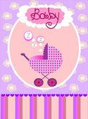 Vector card for baby girl — Stock Vector