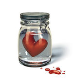 Love's sorrow: Heart in a jar. — Stock Photo