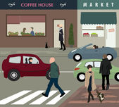 Town street life — Stock Vector