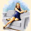 Royalty-Free Stock Photo: Lady sitting on the sofa bent leg.