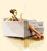 Lady sitting on the sofa and smoke — Stock Photo