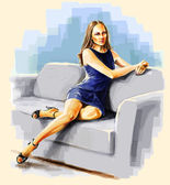 Lady sitting on the sofa bent leg. — Stock Photo