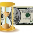 Stock Vector: Time Is Money - Hour-Glass And Dollar Bills