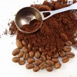 Stock Photo: Ground coffee and coffee beans