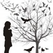 A girl admires the birds — Stock Vector